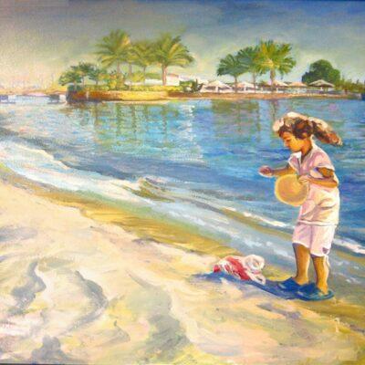 Девочка с лепешкой для рыб в ХУРГАДЕ 60Х80 х.м. продано