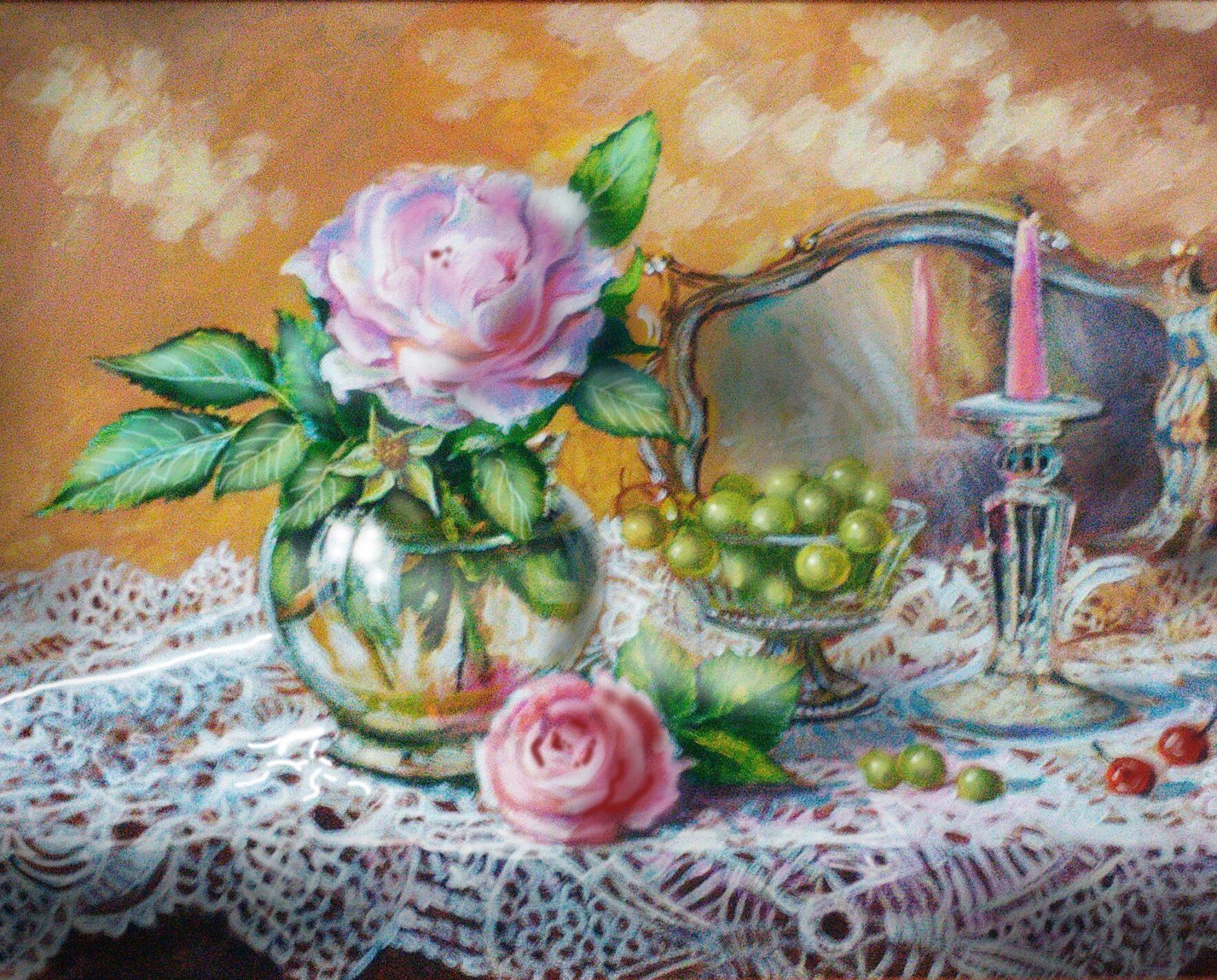 Розы и ажурная скатерть 40х50 холст масло